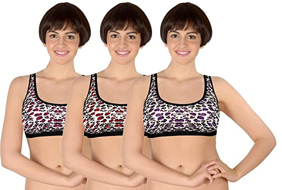 fb6cf6ee1e Selfcare Set of 3 Animal Print Women s Sports Bras  Amazon.in ...