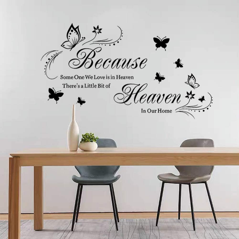 Tbrand Wall Sticker Home Decals for Family Bedroom Living Room Dining Room Art Wall Décor.Quote Saying Because Someone We Love is in Heaven.Art Wall Stickers for Kitchen Room.
