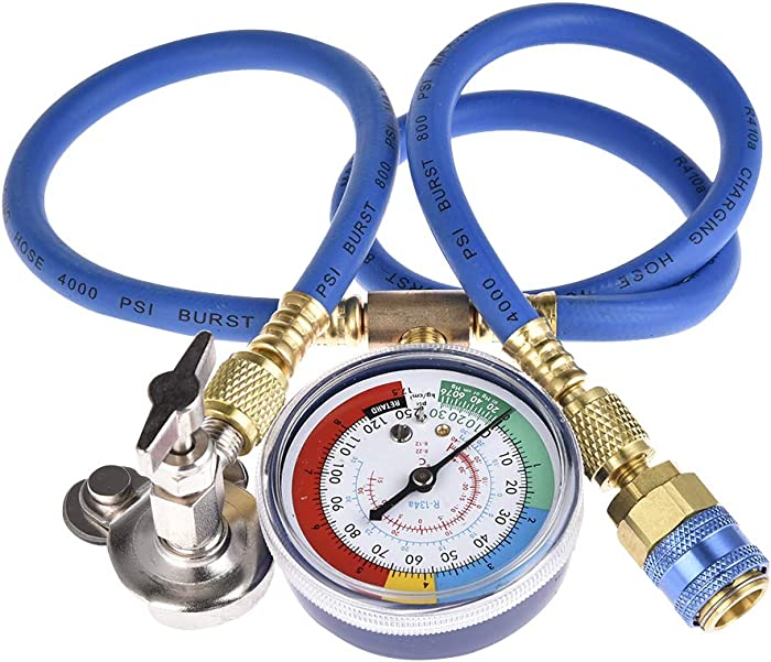 BELEY Automotive A/C R134A R22 R12 Refrigerant/Freon Can Tap Charging Hose Kit with Pressure Gauge for Home & Car Air Conditioning