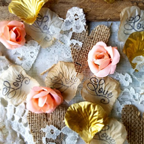 burlap table scatter soft coral and gold wedding confetti flower girl petals bridal