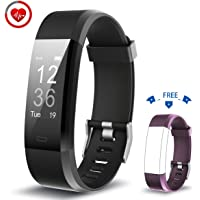 Vigorun Fitness Tracker YG3 Plus Orologio Fitness Monitoraggio della frequenza cardiaca Bluetooth Pedometro Calorie Promemoria sedentario Multiple Sports Mode per Android e iOS (Nero+Viola)