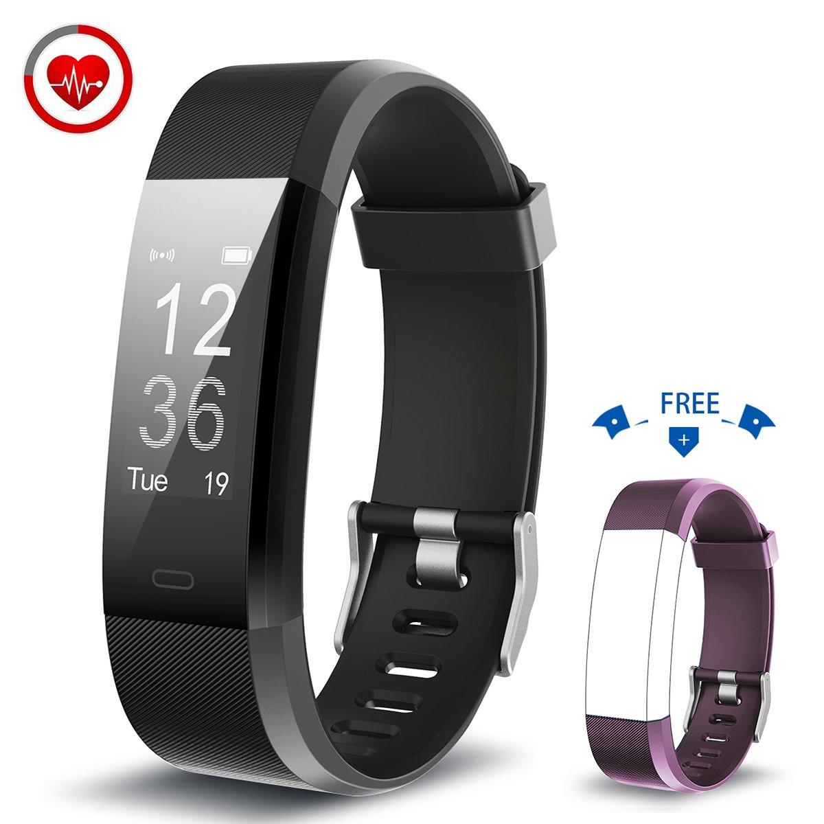 Vigorun Fitness Armband YG3 Plus Fitness Tracker mit Pulsmesser Multi-Sport-Modus Aktivitä tstracker Schrittzä hler Kalorienzä hler Schlafü berwachung fü r iOS und Android (Schwarz+Violett) Black+Purple