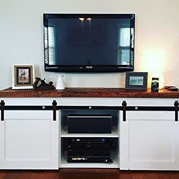 Hahaemall New Design 4FT Mini Sliding Barn Door Hardware Fit Cabinet And TV  Stand Steel Track
