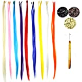 """50 Pack Pretty Colors Hair Extensions Kit, Assorted Synthetic Hair Extensions, Stick Tip 14-16"""" Long With Installation Tools(Threading Hook + 100 Micro Beads)"""