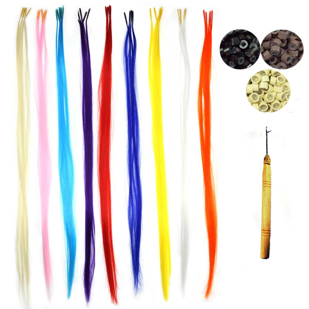 Amazon 50 Pack Pretty Colors Hair Extensions Kit Assorted