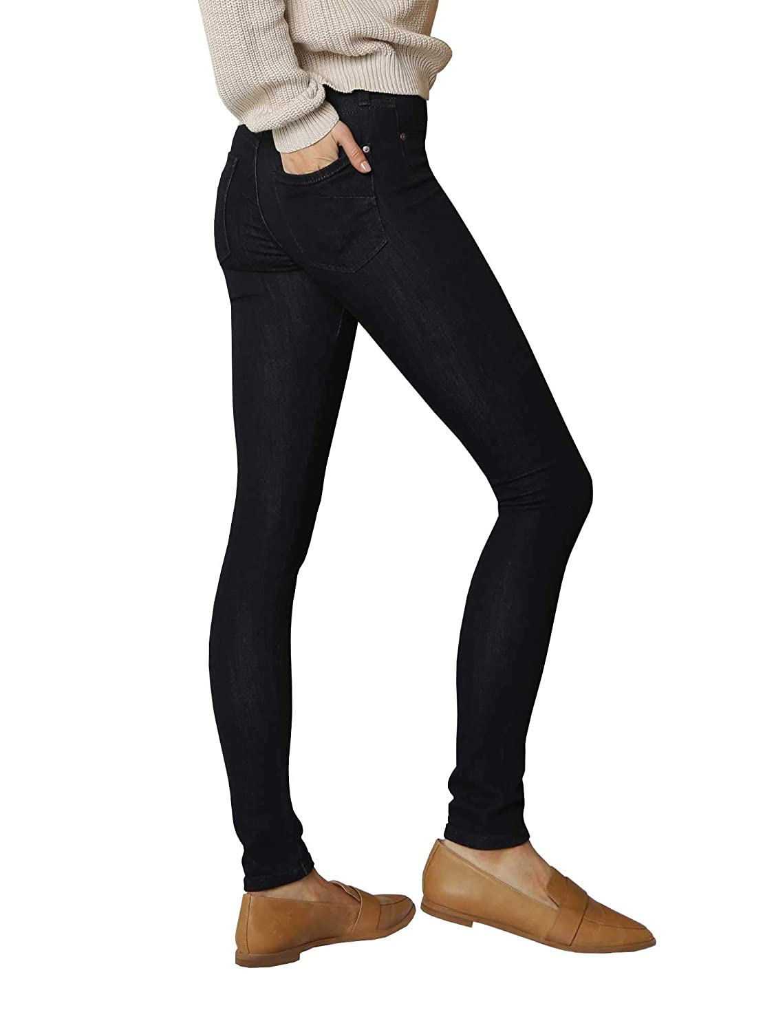 James Jeans Womens Mid Waisted Skinny Leg Wonder Jeans in Classic Dark Blue