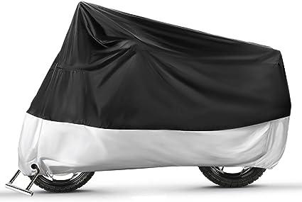 Ergocar Motorrad Abdeckplane Outdoor Indoor Motorradgarage Wasserdicht Motorradabdeckung 210d Verdickte Polyester Uv Schutzhülle Silber L 86 6 X 37 4 X 43 3 Auto