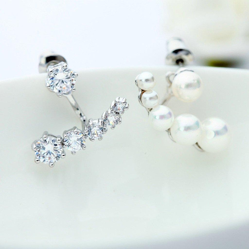 KnSam Women Platinum Plate Pierced Stud Earrings Imitate Pearl T Swing Crystal Rhinestone White