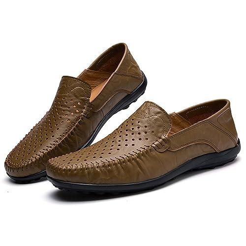 AHELMET ASHOES Zapatos Agujeros Transpirables Hombres Zapatos de Cuero Resbalón en Mocasines Planos Negocios Casual Conducción