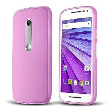 Donkeyphone S1AMG3G1E00 - Carcasa de Silicona para Motorola Moto g3 Gel TPU Lisa, Color Rosa