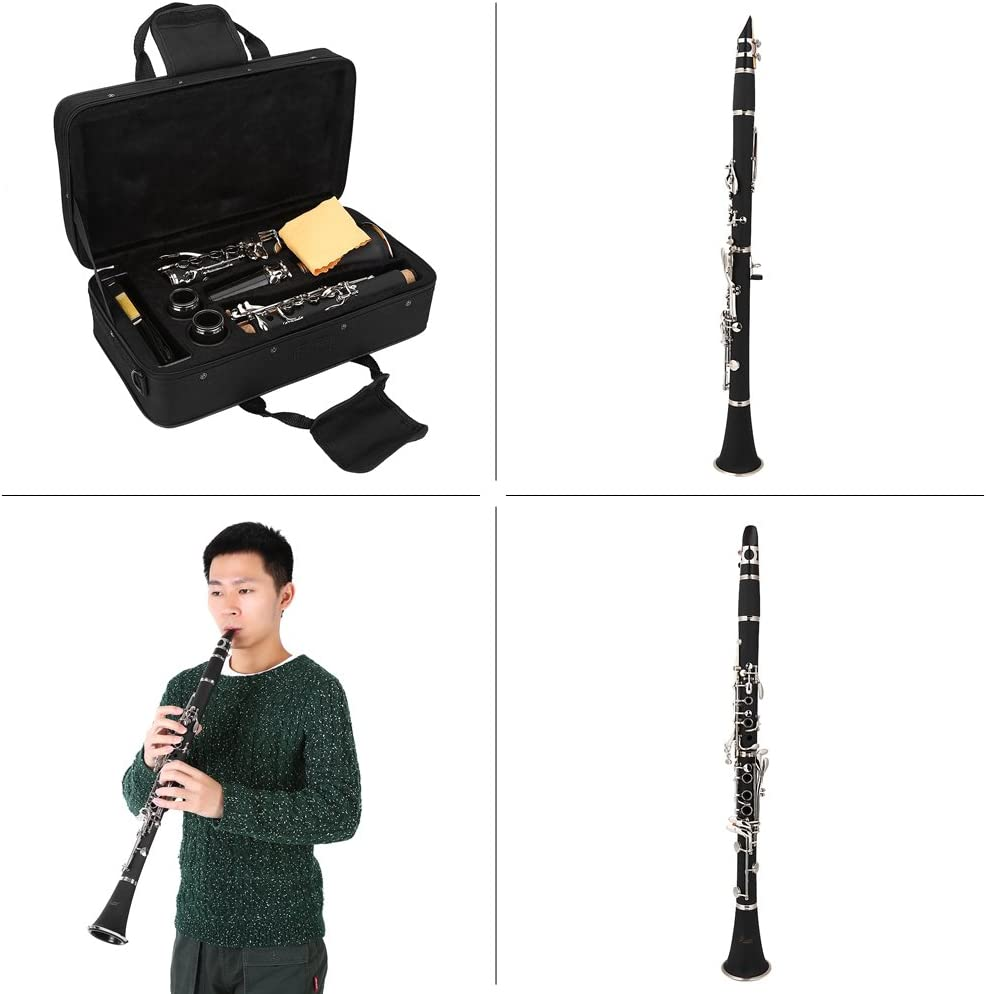 Dilwe Bb Clarinet 17 Key Descending B Tone Bakelite Clarinet with Reeds Cleaning Cloth Bag Woodwind Instruments