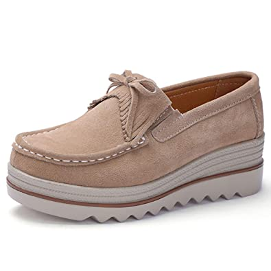 be5530b56b48 ZYEN Women s Platform Sneakers Slip On Comfortable Loafers Wide Wedge Suede  Moccasin Tassel Work Shoes Apricot