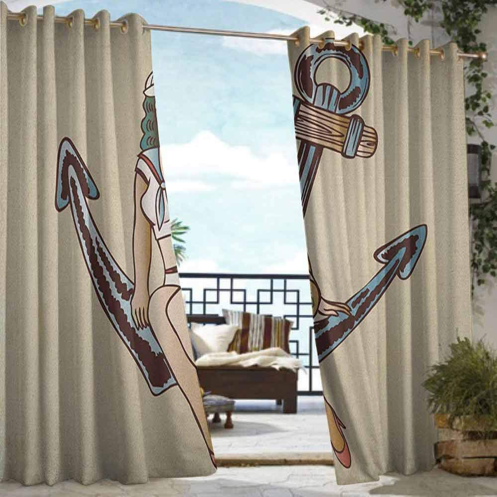 Outdoor Blackout Curtains Anchor,Pinup Girl with Sailor Outfit Shark and Heart Tattoo Vintage Twenties Illustration, Multicolor,W96 xL84 Outdoor Curtain Waterproof Rustproof Grommet Drape by Andrea Sam