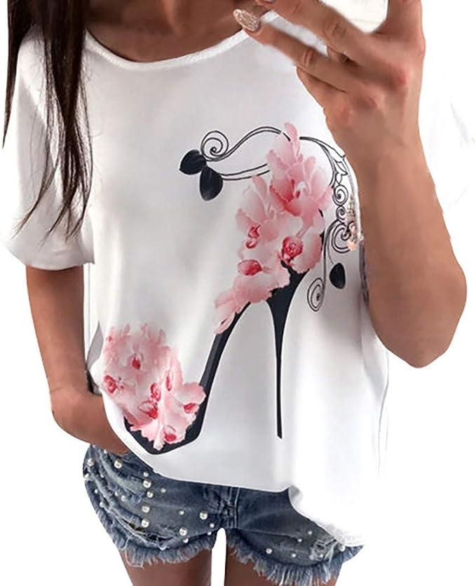 Camisetas Originales para Mujer Tacones Altos, Manga Corta, Tops Estampados, Blusa Holgada Informal, Camiseta para el Verano Mujer Fiesta Playa LiNaoNa: Amazon.es: Ropa y accesorios
