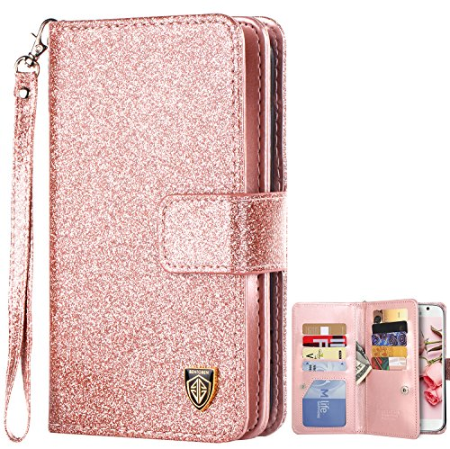Galaxy S6 Case, Samsung Galaxy S6 Case, BENTOBEN Sparkly Glitter S6 Wallet Case Luxury Flip PU Leather Credit Card Holder Cash Pockets Wristlet Protective Case for Samsung Galaxy S6, Rose Gold