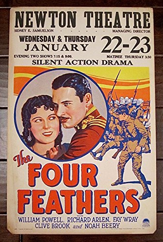 REDUCED 70 FOUR FEATHERS '29 SILENT FILM WINDOW CARD POSTER POWELL WRAY