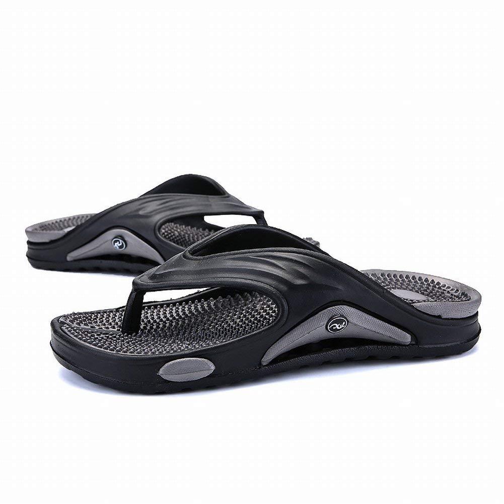 FuweiEncore Trend Flip Flop Leichte und Bequeme Massage Boden Herren-Sandalen Rutschfeste Outdoor-Strandschuhe (Farbe   Grau, Größe   45)