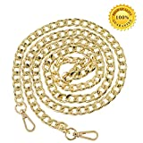 Myathle 12MM Width Purse Chain Strap Replacement Length 51'' Gold Plated Metal Chain Handbags Strap for Clutch Wallet Satchel Tote Bags Shoulder Crossbody Bag Chain Replacement Strap