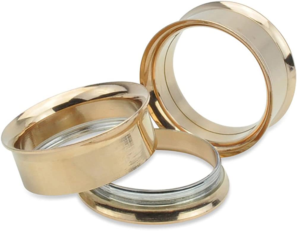 yati/_gj 1 Pcs Rose Gold Screw Stainless Steel Ear Gauges Flesh Tunnels Plug Stretcher Expander 18mm