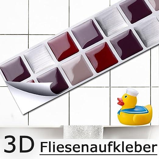 Grandora 7 Adhesivos 25,3 x 3,7 cm Rojo Beige Plateado Etiqueta Adhesiva Design 2 I 3D Diversidad l/ámina para Azulejos y baldosas Cocina de ba/ño Pegatina de Pared decoraci/ón de Azulejos W5288