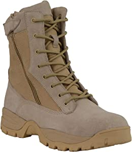 Milwaukee Performance MBM9111 Mens Lace-Up Desert Sand 9-Inch Leather Tactical Boots with Side Zippers - 11