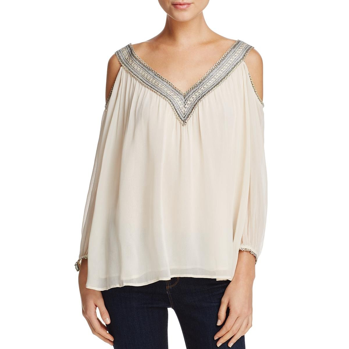 Love Sam Womens Embroidered Metallic Trim Open Shoulder Peasant Top Ivory M