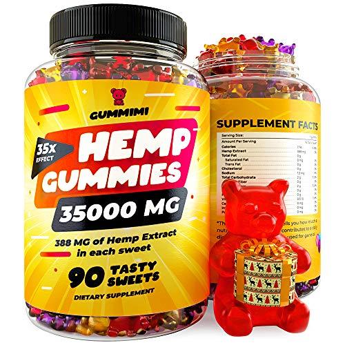 Hemp Gummies - 35000 MG - Anxiety, Stress, Pain Relief - Calm Sleep - Improves Memory, Focus, Attention - Omega 3-6-9 & Vitamins