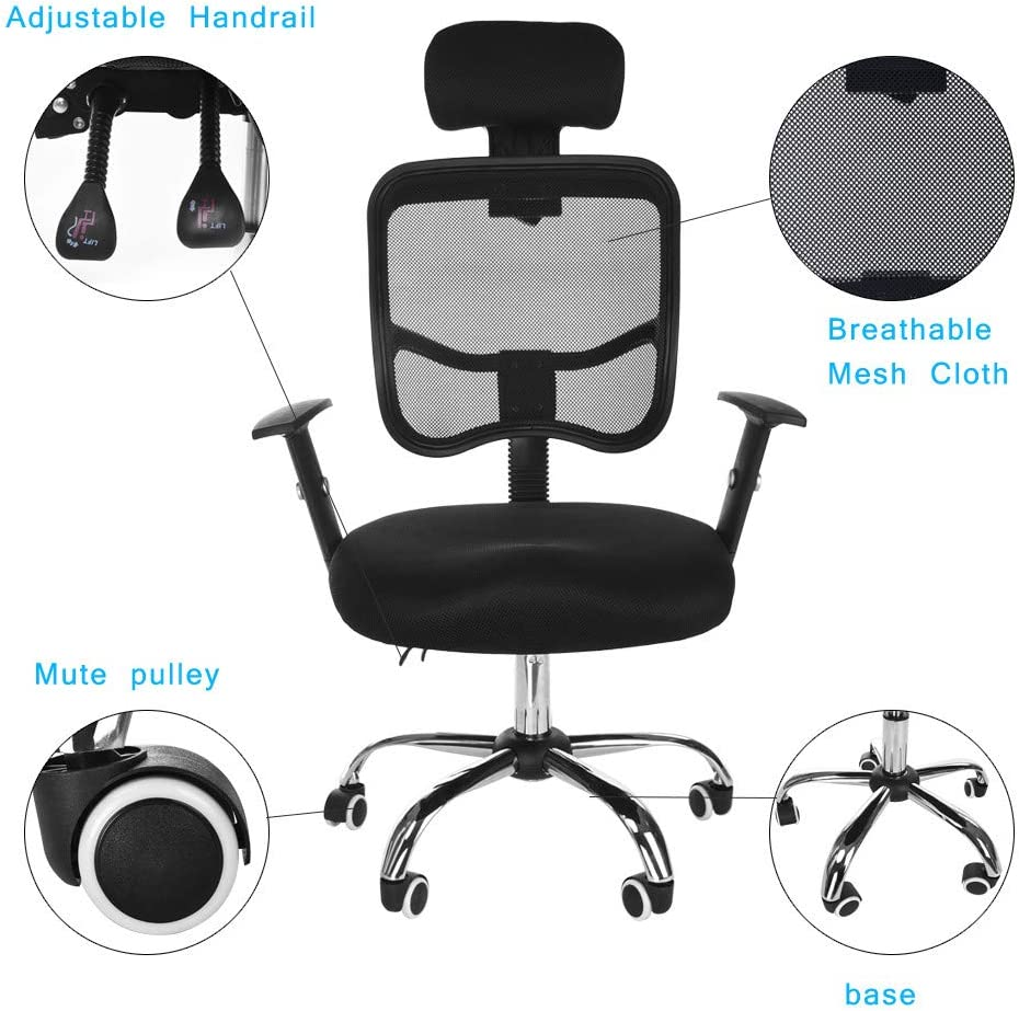 Office Work Chair,CSSD Ergonomic Swivel Executive Adjustable Task MidBack Computer Stool with Arm in Home-Office Mesh Chair Black Ship from US