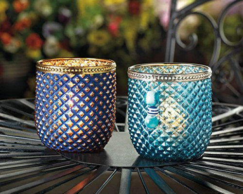 Smart Living Diamond Pattern Dominion Teal Blue Glass Votive Candle Holder With Silver Trim