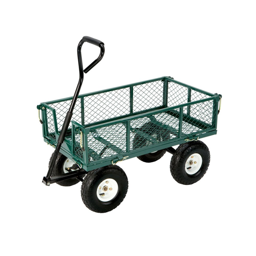 Utility Cart Wagon Hauling Towing Folding Sides Farm Handle Steering Cart-GREEN
