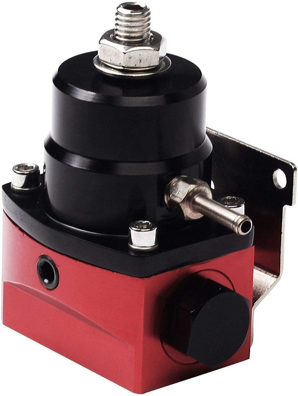 Black/&Red Universal Adjustable EFI Aluminum Fuel Pressure Regulator Kit with 0-100 psi Gauge AN6-6AN Fuel Line Hose Fittings