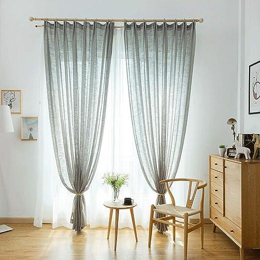 Cortinas de exterior Cortinas de lino de algodón, cortinas, pantallas, hilado terminado, Ventana, dormitorio, sala de estar, gasa blanca, de piso a techo Ventana, Ancho Hook, Altura, 2,7 M, 1 pieza co: