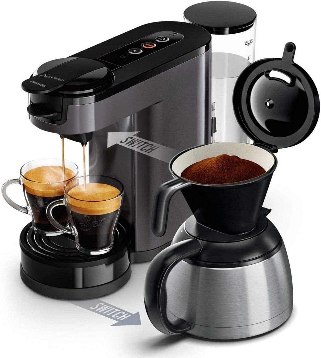Cafetera Independiente, Cafetera de filtro, 1 L, Dosis de caf/é, De caf/é molido, 1450 W, Negro, Gris, Acero inoxidable Senseo HD6591//21
