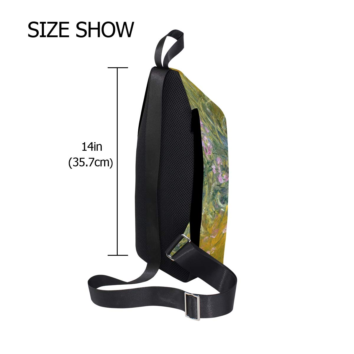 AHOMY Monets Path Through The Irises Messenger Bag Small Travel School Sling Bag Crossbody Bag