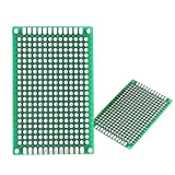 Lantee 50 Pcs Double Sided Protoboard Prototyping PCB Prototype Universal Printed Circuit Board Kit 4cm x 6cm for DIY