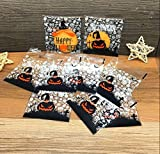 Yunko 200pcs Happy Halloween Candy Cookie Packaging Self-adhesive Plastic Bags for Biscuits Package (Style 2)