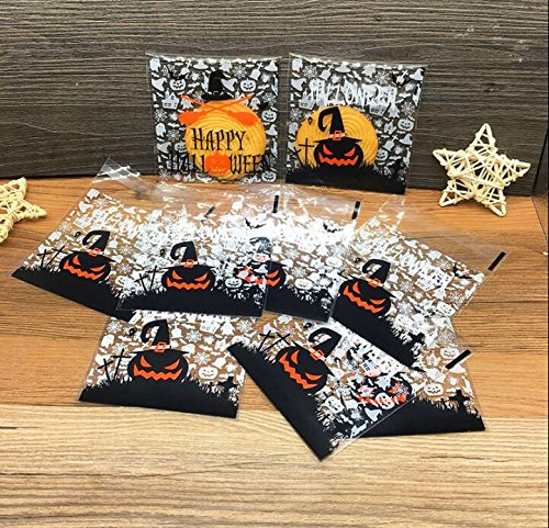 Yunko 200pcs Happy Halloween Candy Cookie Packaging Self-adhesive