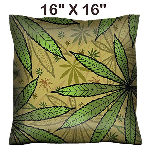 - Liili 16x16 Throw Pillow Cover - Decorative Euro Sham Pillow Case Polyester Satin Soft Handmade Pillowcase Couch Sofa Bed Image ID: 10800828 Wallpaper with Green leavs of Cannabis