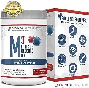 BioNox Nutrients M3 Miracle Molecule Max - Cardiovascular Support Nitric Oxide Powder - L Arginine + L Citrulline + Beets - No Caffeine, Blood Pressure Support Supplement - Great Taste 30 Days