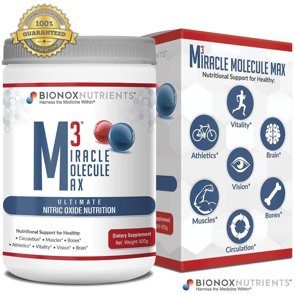 BioNox Nutrients M3 Miracle Molecule Max - Cardiovascular Support Nitric Oxide Powder - L Arginine + L Citrulline + Beets - No Caffeine, Blood Pressure Support Supplement - Great Taste 30 Days by BioNox Nutrients