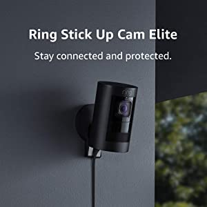 Ring Stick Up Cam Elite, Indoor/Outdoor Power HD Security Camera with Two-Way Talk, Night Vision, Works with Alexa - Black