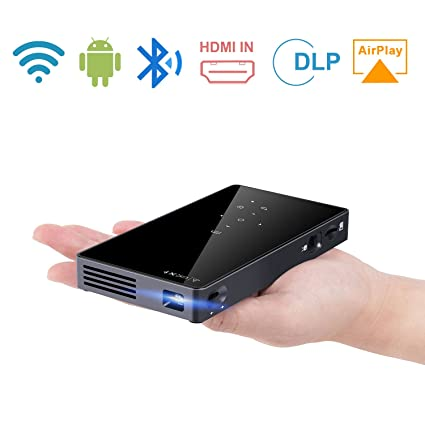 9061090489992a ENKLOV Protable Mini Projector,1080P WIFI Home Theater Pocket Pico Video  Projector for Smartphone and