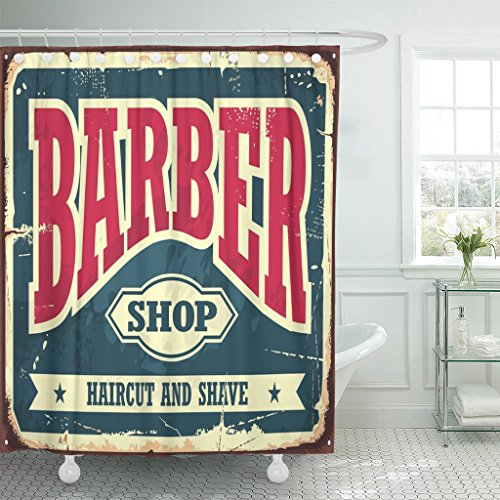 Emvency Shower Curtain Beard Barber Hipster Haircut and Shave Vintage Sign Barbershop Retro Old Classic Waterproof Polyester Fabric 72 x 72 inches Set with Hooks (Shower Curtain Shop)