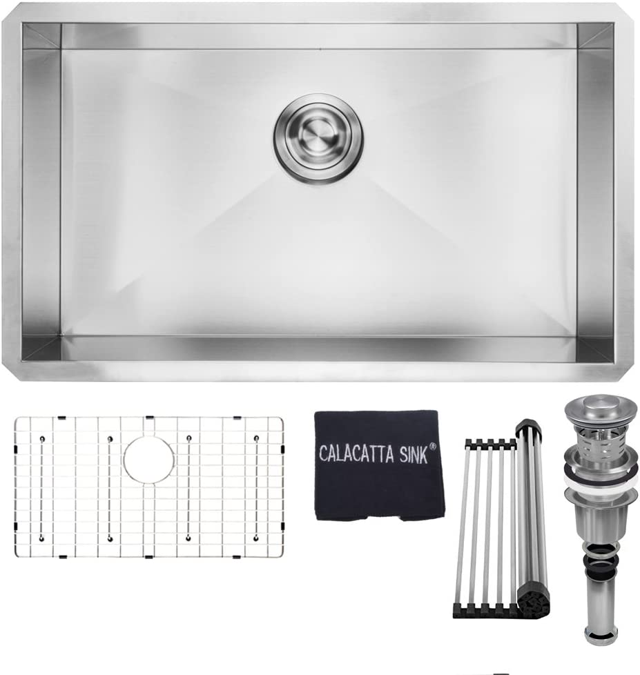 Calacatta Kitchen Sink 30-inch Handmade Single Bowl Undermount Stainless Steel 304 16 Gauge Kitchen Sink w Drain Strainer Grid Dish Cloth, CS3018