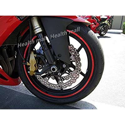 High Intensity Grade Reflective Safety Rim Tapes Wheel Rim Light Reflective Stickers DIY Reflective Warning Stripe Decal for All Vehicles Red: Automotive