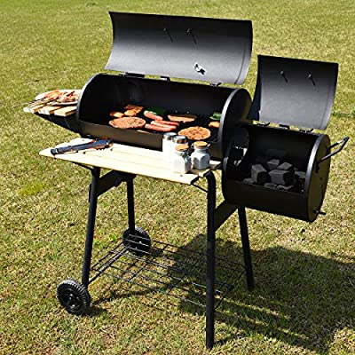 Giantex Charcoal BBQ Grill Barbecue Grill Outdoor Rolling Grill with 2 Grill Racks, Offset Smoker, Shelf and Wheel Pit Patio Backyard Home Meat Cooker, Black