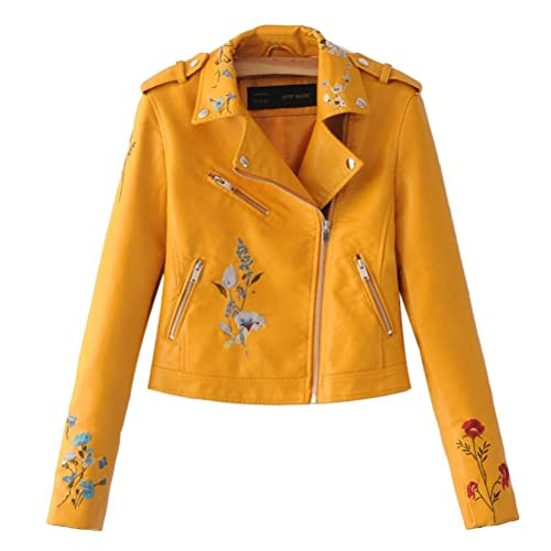 Zhuhaitf Multi Flora PU Leather Embroidery Motorcycle Jacket Zip Stitch Long Sleeve Outerwear Womens...