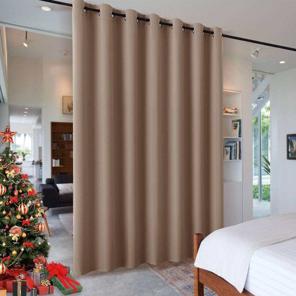 RYB HOME Room Devider Blackout Curtains for Patio Door, Portable Sliding Glass Door Drapes Sunlight Proof Noise Reducing for Bedroom/Living Room/Kitchen/Gazebo, 100 x 84 inch, Cappuccino