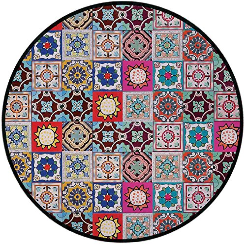 Roca Ceramic Tile - Printing Round Rug,Moroccan,Collection of Ceramic Mosaic Tiles and Figures with Mathematical Geometric Artful Mat Non-Slip Soft Entrance Mat Door Floor Rug Area Rug For Chair Living Room,Multicolor