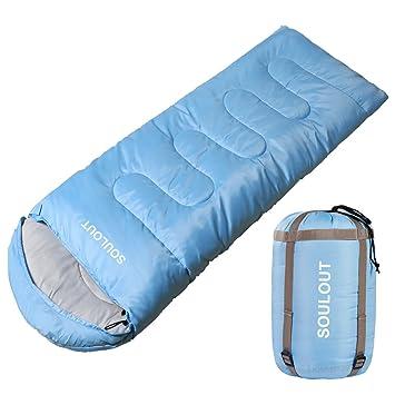 SOULOUT Saco de Dormir 3 o 4 Estaciones, cálido e Invierno, Ligero, Resistente al Agua, ...